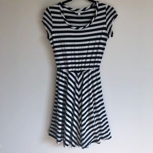 Charming Charlie Navy & White Striped Skater Dress